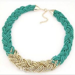 Jewelry - Turquoise Gold Choker Braid Multi Strand Necklace
